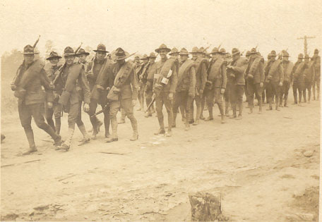 from caption on back, 7th Reg't arriving at Spartanburg, Camp Wadsworth, September 1917