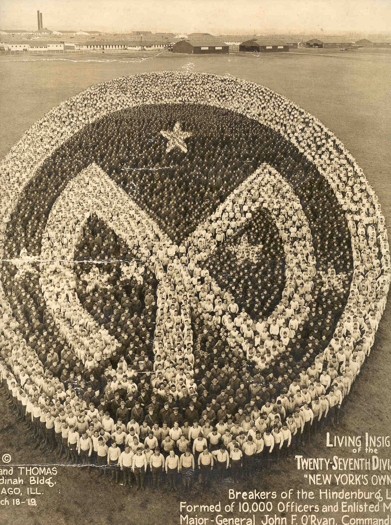 The Living Insignia of the 27th Division, a post war image formed by over 10,000 unit members. If image fails to appear click on this area