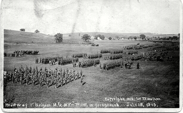 Review of 1st Brigade, NGNY. 7th Regt in foreground. July 18, 1915.If image fails to appear click on this area