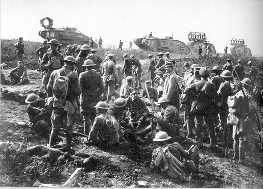 27th Division troops with Mark V tanks of the British 8th Tank Battalion in background, Sept. 29, 1918, Hindenburg Line.If image fails to appear click on this area