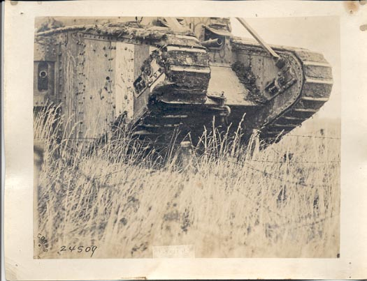 Tank close-up, Beauqesnes, Somme, Sept 13, 1918. The 27th Division trained here for the assault on the Hindenburgh Line.If image fails to appear click on this area