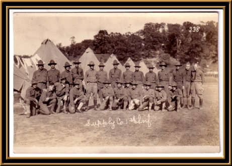 Supply company, 1st Infantry at Camp Van Cordtlandt, dated September 9, 1917, two days before the regiment began movement to Camp Wadsworth..If image fails to appear click on this area