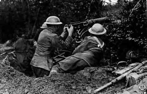 105th MG BN, 27th Division, in action with the vickers gun